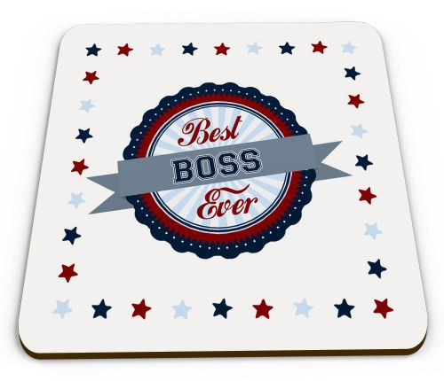Best... Ever Novelty Glossy Mug Coasters - Red/Blue